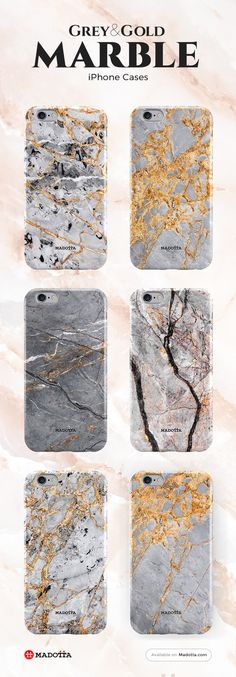 Grey Gold Marble iPhone 7 Cases by #Madotta View more designs at https://madotta.com/collections/marble-iphone-cases/?utm_term=caption+link&utm_medium=Social&utm_source=Pinterest&utm_campaign=IG+to+Pinterest+Auto