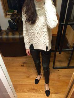 Zara turtleneck cable knit, Balmain x H&M leather biker pants, velvet slippers.
