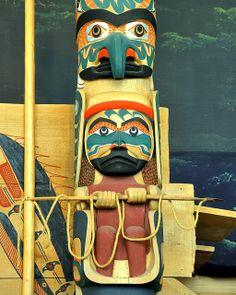British Columbia indigenous art - Nuu-chah-nulth Totem Pole - Tim Paul 1989.