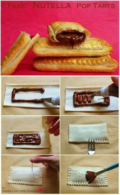 """""""Fake"""" Nutella Pop Tarts  Another super easy and fast recipe for Nutella lovers ♥    Ingredients:    - 1 pack puff pastry  - Nutella    Also:  - water to brush the tarts   Preparation:    - Preheat the oven to 220C / 430F    - Roll out the puff pastry. Use a sharp knife and cut the dough into about 8x 2.5 inch / 22x6 cm rectangular pieces. But the size is basically up to you."""