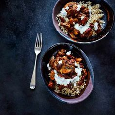 Mushroom chilli with lime soured cream