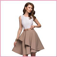 41deda50812 Кружевное платье 2018 Для женщин новые модные летние пляжные рукавов Flare  платья мини-линии Платье