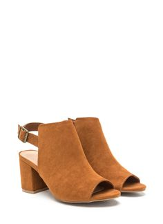 9d284c7cc79 All Smiles Faux Suede Chunky Heels CHESTNUT