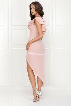 AGNES asymetryczna sukienka pudrowy róż High Low, Cold Shoulder Dress, Prom Dresses, Fashion, Outfits, Moda, Fashion Styles, Fashion Illustrations, Ball Gowns