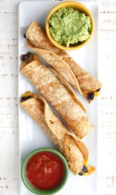 These Vegetarian Baked Taquitos from Weelicious are a kid-friendly (not to mention quick and healthy) weeknight dinner! Have the little ones help out by mixing up guac, salsa, and bbq sauce for dipping.