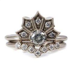 Modern Art Deco Engagement Ring Set - Crown Ring with Moissanite and Diamonds Chevron Diamond Wedding Band