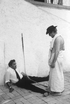 Federico Fellini and Marcello Mastroianni on the set of 8 ½....