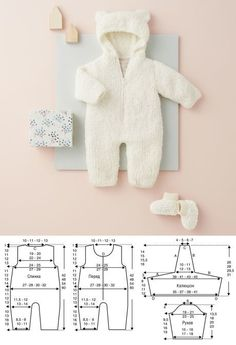 Overall mit Kapuze und Booties - Strickmuster . - - Overall mit Kapuze und Booties - Strickmuster . Baby Girl Hats, Baby Boy Fashion, Baby Boy Outfits, Kids Outfits, Baby Dress Patterns, Baby Knitting Patterns, Afghan Patterns, Sewing Baby Clothes, Baby Sewing