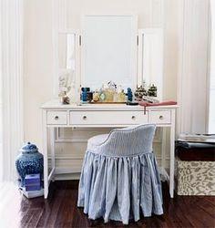 Chair Home Goods Decor, Cute Home Decor, Stylish Home Decor, Blue Dressing Tables, Dressing Table With Chair, Dressing Stool, Raskog Ikea, Guest Bedroom Decor, Master Bedroom