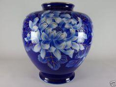 140229 Vintage Japanese Arita Fukagawa Porcelain Peony Pattern Flower Vase   eBay
