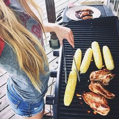 "#bbqbabe @leilulemon grilling it up! P.S. Sometimes I am amused at the amount of armchair critique of what is/isn't ""proper"" BBQ on this page. Just enjoy it or leave it!  #bbq #pretty #girls #happy #corn #chicken #grilling #food #ootd #hungry #picoftheday #protein by babeswithbbq"