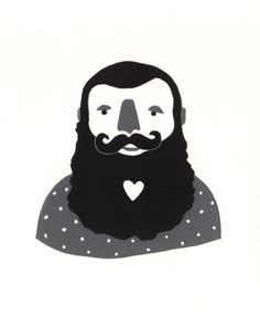 Beard Love - Original Linocut Art Print (would make a darn cute valentine!)