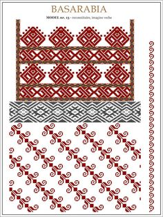 Semne Cusute: din BASARABIA Cross Stitch Borders, Cross Stitch Designs, Cross Stitching, Cross Stitch Patterns, Folk Embroidery, Learn Embroidery, Embroidery Patterns, Peyote Patterns, Craft Patterns