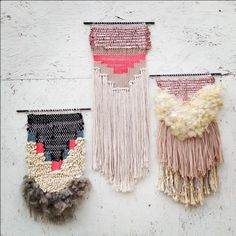Woven Textile Art - pretty mixed fibre weave; contemporary wall hanging; textiles surface texture