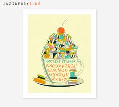 READ, Inspirational Pop Art, Giclée Fine Art Print for the Home Decor by Jazzberry Blue