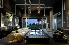 Lines and playfulness with lighting fixtures against black - nice!