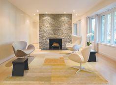 A stone fireplace wa