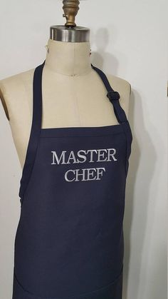 Master Chef Personalized Apron / Navy XL Apron / Mens Plus