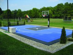 Blue basketball court with Michael Jordan logo