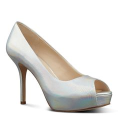 Nine West Qtpie Peep Toe Platform Pumps  (Metallic, Size 8.5) - Brought to you by Avarsha.com