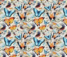 Watercolor Butterflies fabric by milenagaytandzhieva on Spoonflower - custom fabric