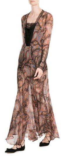 Etro marries sheer paisley printed silk with black eyelash lace for an ethereal mix that boasts just enough sensuality - the sweeping length and streamlined silhouette will keep it in focus at your next big event #Stylebop