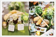 Olive Oil & Vinegar Tags & rustic food styling in this Los Olivos Winery Wedding