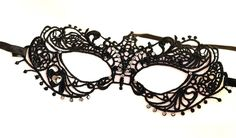 Black Lace Mask with Swarovski Crystal Rhinestones - Ice It