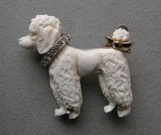 JOMAZ Hand Carved Ox Bone POODLE PIN w/ Rhinestone Collar