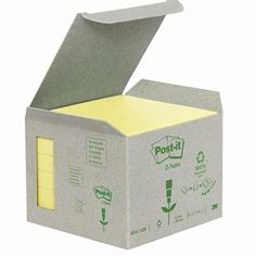 3M Canary Yellow Recycled Z-Note Post-It Notes 76 x 76mm R330-1B Sticky Pads, Recycling, Office Supplies, Notes, Rainbow, Pastel, Yellow, Rain Bow, Report Cards