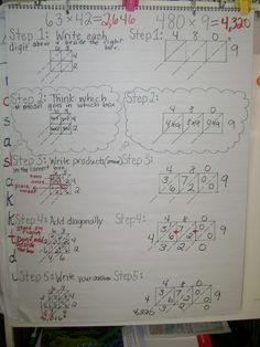 Math Workshop Adventures: Anchor Charts Continued by cventress Lattice Multiplication, Multiplication Anchor Charts, 4th Grade Multiplication, Math Charts, Math Anchor Charts, 4th Grade Math, Math Strategies, Math Resources, Second Grade