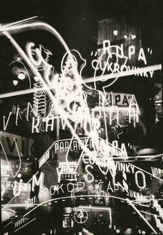 Prague neons, 1939 - photo by Ladislav Sitenský