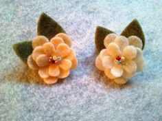 Small felt flower brooch / pin  Peaches and cream  by TheWoolyGoat, $5.00