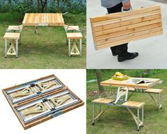 This lightweight and portable wooden picnic table has built-in seating for four and compactly folds up into a suitcase for space-saving storage and easy transport.