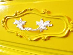 Colourful Painted French Provincial Furniture, love the Bright Yellow and White Handles!!!