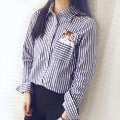 2016 весной новые женские футболки свободного покроя Camisa Feminina полосатый с длинными рукавами тонкий Blusas женщины топы вышитые кошка женщины топы купить на AliExpress