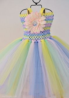 Pastel Rainbow Dress fashion summer colorful dress pastel formal gown full skirt flair