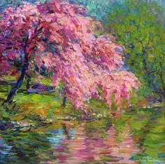 "Blossoming Cherry Tree landscape painting by Svetlana Novikova"""