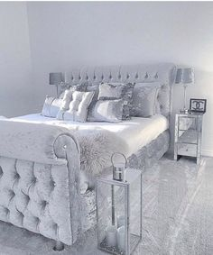 Grey sleigh bed in velvet with silver satin sheets & pillows w/mirrored furniture. Great mod/contemporary guest room—best for your eclectic cousin Polexia who lives in The Village or your so boss coed Room Ideas Bedroom, Home Bedroom, Glam Master Bedroom, Bedroom Small, Sleigh Beds, Cute Room Decor, Dream Rooms, Luxurious Bedrooms, Home Decor Ideas