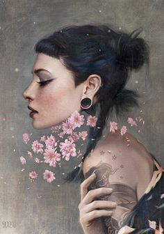 """Adore"" - Tom Bagshaw {figurative female fantasy #surreal woman profile digital cropped painting} mostlywanted.com"