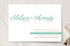 """Raising the Bar"" - Modern, Simple Print-it-yourself Wedding Invitations in Turquoise by R studio."