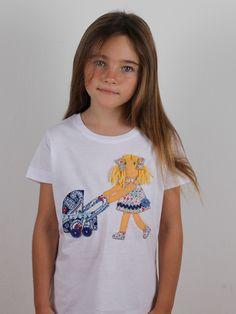 #camiseta #personalizada #diseño #muñeca con carrito de bebé