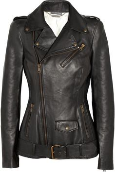 Love the off-center zipper and belt at the bottom of this leather jacket.  #fashion #leather