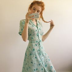 607e0f4b Lovely minty blue vintage floaty dress, with pretty blue flower pattern all  over. With. Depop