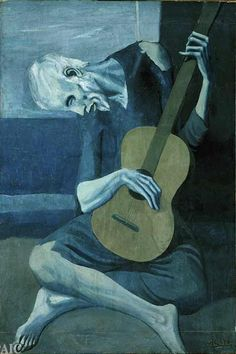 Pablo Picasso: The Old Guitarist, 1903 I think the artwork is about a oldman in a corner playing his guitar, feeling sorrow... I like the artwork as the colour and the head even the body shows what i think the artwork is about.I like to adopt the use of colour to show how one person can feel.