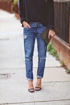 Boyfriend jeans & heels.