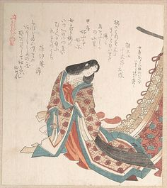 Young Court Lady Kubo Shunman (Japanese, 1757–1820) Period: Edo period (1615–1868) Date: 19th century Culture: Japan Medium: Polychrome woodblock print (surimono); ink and color on paper
