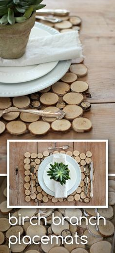 Such a great way to add natural elements into your home! Use birch branches to create this rustic place mat that you can use all year round: www.ehow.com/...