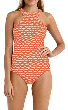 3d1c6a6220e88 Chicloth Orange White Tidal Wave High Neck One Piece Maillot. Fashion   Co  · Swimsuits for Fun