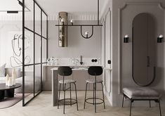 Small Apartments With Functionality And Flair Small Apartment Design, Small Space Design, Small Space Living, Small Apartments, Small Spaces, Bespoke Furniture, Furniture Design, Studio Floor Plans, Larder Unit